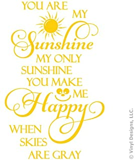 You Are My Sunshine, Happy Quote Vinyl Wall Decal Sticker Art, Removable Home Decor, Yellow, 29in x 46in