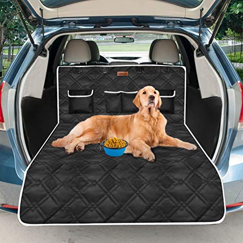 Looxmmer Universal Kofferraumschutz für Hunde, Kofferraumdecke Kofferraumschutzmatte mit Seitenschutz für Auto Rückbank, Hundedecke Wasserdicht & rutschfest mit Ladekantenschutz, Schwarz