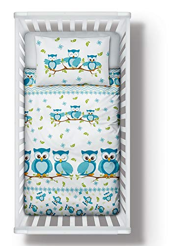 Nursery Bedding Set Duvet Cover + Pillowcase to fit Cot/Cot Bed/Toddler Bed Girls Boys Blue Owls 100% Cotton (90x120 cm)