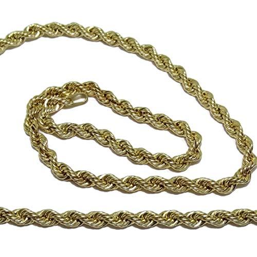 Never Say Never Cordón salomónico de Oro Amarillo de 18k de 3.3Mm de Ancho por 60cm de Largo Cierre mosquetón Peso; 7.70 gr de Oro de 1ª Ley