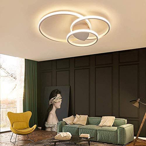 Ring Design Decken Lampe Runde LED Aluminium Deckenleuchte Minimalistisch Fernbedienung Dimmbar Deckenbeleuchtung 3000-6000K Acryl Schirm Esszimmerleuchte Wohnzimmer-Lampe Schlafzimmer (weiss, 3-ring)