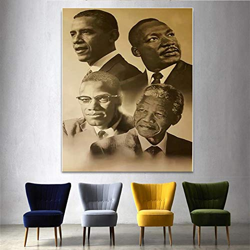 Chihie Leinwanddruck Home Decor Wandkunst Bild Malcolm X Martin Luther König Barack Obama Gemälde Poster-50X70cm ohne Rahmen