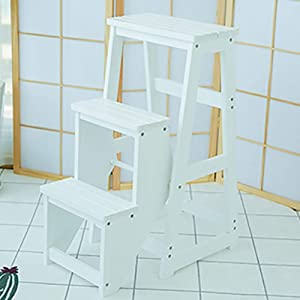 JXSHQS Folding Stool Three-story Step Ladder Lift Multi-function Wooden Ladder Indoor Ladder Ladder Folding Ladder Portable Ladder 39x20x77cm Step Stools  Color White