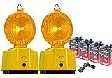 UvV Set 2 x Baustellenleuchte, Warnleuchte gelb - mit...