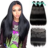 ALLRUN Straight Hair Bundles with Frontal (20 22 24+18Lace Frontal) Brazilian Human Hair 3 Bundles with Ear to Ear Lace Frontal