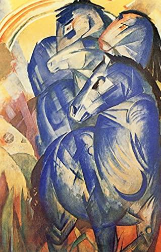 DIY 5D Diamante Pintura, Franz Marc La torre de los caballos azules Diamond Painting Kit Pared Decoración Diamond Painting para Regalos de Cumpleanos