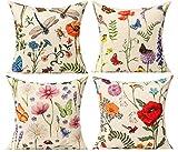 All Smiles Florales Exterior Fundas de Cojines y Almohadas Decorativas Tropicales al Aire Libre 50 x 50CM para Patio Jardín Verano Primavera Mariposa Hojas 4PC Decoración del Hogar Sofá