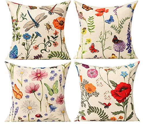 All Smiles Florales Exterior Fundas de Cojines y Almohadas Decorativas Tropicales al Aire Libre 45 x 45CM para Patio Jardín Verano Primavera Mariposa Hojas 4PC Decoración del Hogar Sofá