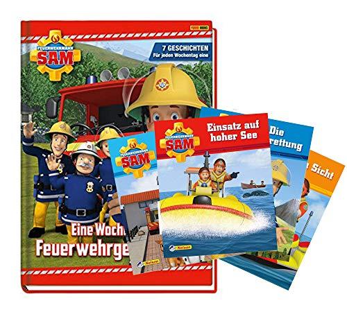Panini Verlag Feuerwehrmann Sam: Eine Woche voller Feuerwehrgeschichten + 4 Feuerwehrmann Sam Minibücher, ab 3 Jahre