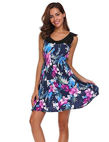 Ekouaer Damen Nachthemd Floral Sleepwear Ärmellos V-Ausschnitt Hausanzug Blumen Nachtwäsche Schlafanzug