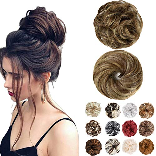 Messy Bun Hair Piece 2PCS Hair Extension Ponytail With Elastic Rubber Band Updo Extensions Hairpiece Synthetic Hair Extensions Scrunchies Ponytail Hairpiece for Women