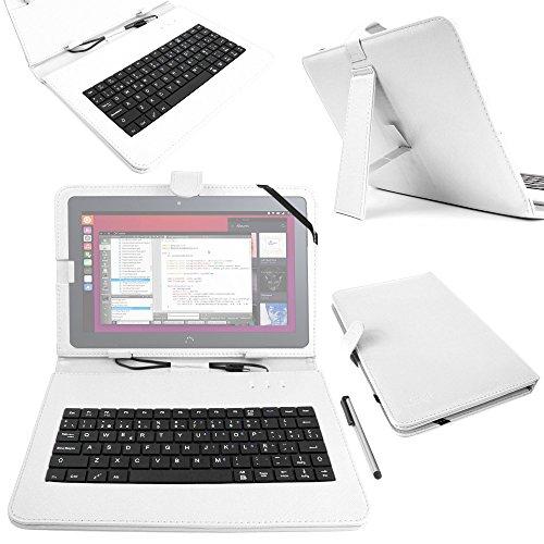 DURAGADGET Funda/Teclado ESPAÑOL Blanco 10.1' para la Tablet BQ Aquaris M10 Ubuntu Edition 10.1' | HD | Full HD - Conexión MicroUSB + Lápiz Stylus