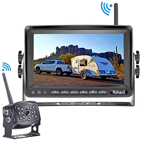 Rohent HD 960P Digital Wireless Backup Camera with Monitor Kit High-Speed Observation System for RVs,Trucks,Trailers,5th Wheels 7'' Display IP69K Waterproof Super Night Vision