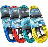 keepdrum 4X Mikrofonkabel Set 6m XLR 4 Farben Rot Blau
