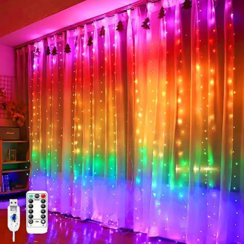 QXXZ Cortina de Luces - 280 LED 3M Luces Cortina Navidad Arcoíris Luz de Cortina con 8 Modos Impermeable Control Remoto Cadena de Luces para Ventana Pared Boda Fiesta