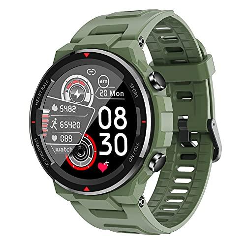 ERGEFSD Smartwatch IP67 Impermeable,para Hombre Mujer Fitness Tracker con Ritmo Cardiaco Dormir Monitor Reloj Inteligente,1.28in Pantalla Táctil Reloj Deportivo para Android iOS-Verde