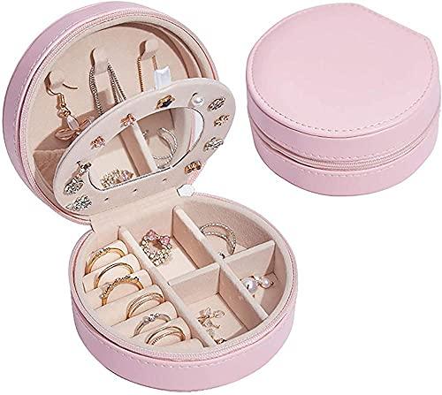 Joyero de piel de doble capa, semicircular, portátil, se puede utilizar como regalo para festivales y viajes, color rosa
