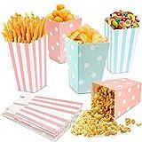 LOVEXIU Sacchetti Carta,Sacchetti Popcorn,Sacchetti Caramelle,Scatole per Popcorn,Snack per Feste, Biscotti,Patatine Fritte, Bocconcini di Pollo,Scatole per Caramelle,per Feste di Natale E Compleanno