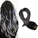 Moresoo 16 inch Clip in Human Hair Extensions Balayage Black Hair Extensions 1B to Silver Grey Clip in Real Hair Double Weft 100g/pack Full Head Set Black to Grey Silver Balayage Clip ins