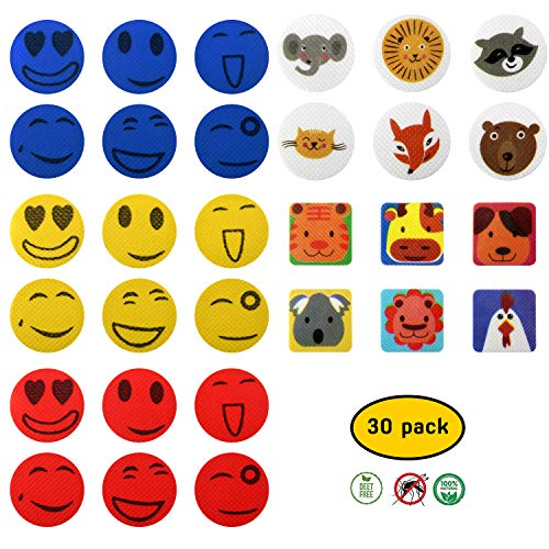 Mückenschutz-Aufkleber Mückenschutz Sticker Patches Smiley-Aufkleber ideal für Outdoor, Wandern, Camping & Aktivitäten