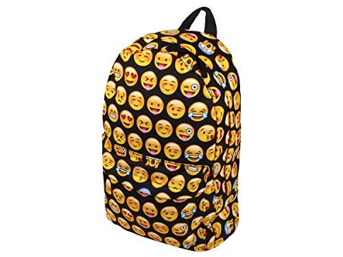 Zaino | Emoji | Nero | 40 x 35 cm | Grande | Regolabile | 1 Tasca frontale | Chiusura a Lampo | Borsa Viaggio | Scuola | Università