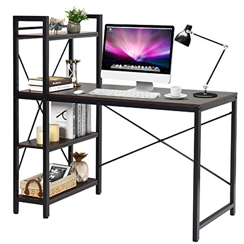 Tangkula 47.5' Computer Desk with Shelves, Modern Style Writing Study Table with 4 Tier Bookshelves,...