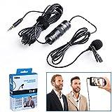 Boya by-M1omnidireccional Lavalier micrófono de Condensador con Clip de Solapa para DSLR Cámara/Smartphones/Cámaras de vídeo/Audio grabadoras–Negro