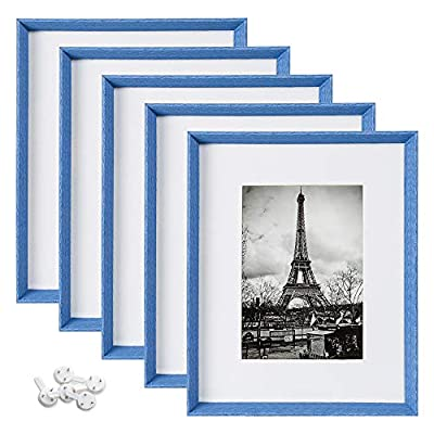 upsimples 8x10 Picture Frames with High Definition Glass,Rustic Photo Frames for Wall or Tabletop Display,Set of 5,Blue