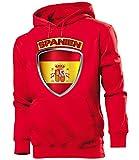 Golebros Spanien Espania Spain Fan Artikel 5018 Fuss Ball EM 2020 WM 2022 Hoodie Pulli Sweatshirt Kapuzen Pullover Flagge Fahne Männer Herren World Cup S