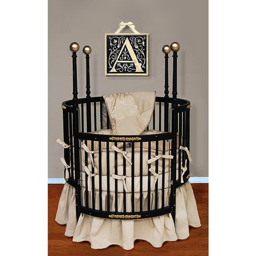 Baby Doll Bedding Sensation Round Crib Bedding Set, Gold