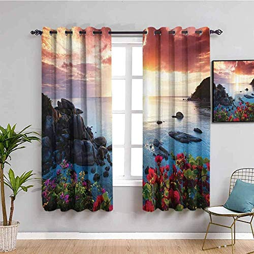 ZLYYH door curtains thermal Sunset sky beach flower W90'xL108'(45'x108'x2 panels) Soft Solid Thermal Insulated Curtain Drapes Window Treatment Decoration for Bedroom/ Living Room, Energy Saving & Nois