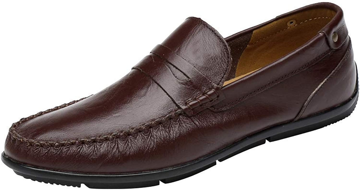 Duckmole Men's Premium Genuine Leather Moc Toe Moccasins shoes Casual Slip-on Penny Driving Loafers