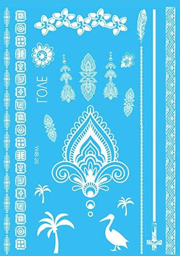 5Pcs 21X14.8CM Tatuaggi Temporanei Per Adulti Uomo Donne, Tatuaggio Temporaneo Adesivo Body Art, Ali Di Angelo Del Cocco Dell'Elefante Bianco Adesivi Tatuaggi Finti Impermeabili Per Braccio, Gamba E V