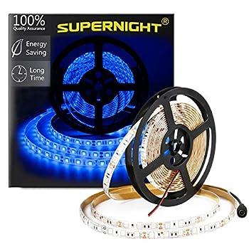 SUPERNIGHT Blue LED Light Strip Waterproof IP65 16.4ft 300leds 5050 SMD Indoor Rope Lighting for Christmas Cars Boats Aquarium Dome Kitchen Bedroom