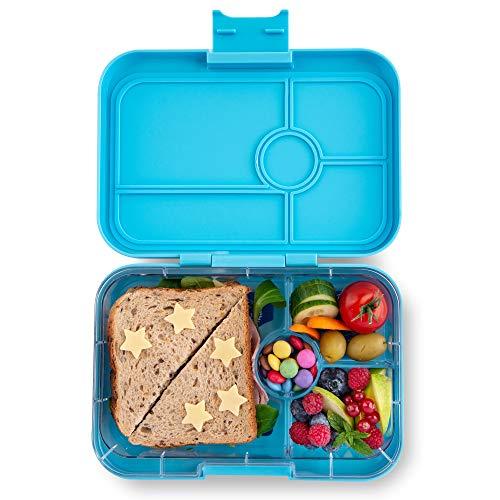 Yumbox Tapas XL Lunchbox – Bento Box für Erwachsene | Unterteilte Brotdose | Brotzeitbox mit Unterteilung | Auslaufsicher getrennte Fächer (Nevis Blue, 4er Explore)