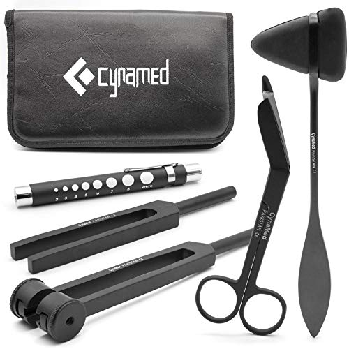 CYNAMED Medical Student Exam Kit - 5-Piece Assessment and Diagnostic Set - Reflex Hammer, C128 and C512 Tuning Forks, Pupil Gauge, Bandage Scissors – Perfect for Medical Students!