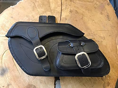 ORLETANOS Retro Black Satteltaschen Seitentaschen kompatibel mit Harley Davidson Chopper Seitenkoffer Lederkoffer hd schwarz Set 24L Orletanos Bikertaschen Motorrad