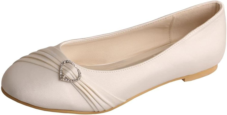 Wedopus MW925 Women's Round Toe Pleated Strap Flat Rhinestone Wedding Bridal shoes Ivory