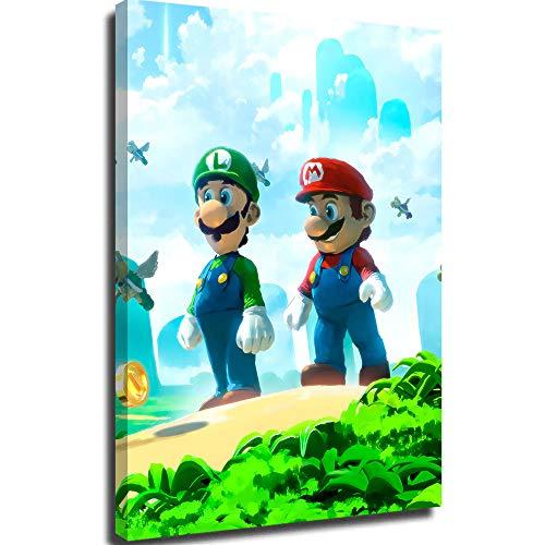 Lienzo para póster de pared, diseño de Super Mario Bros, campo civil, 30,5 x 45,7 cm