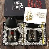 Mr and Mrs Couples Cups Sr. y Sra. Parejas Tazas de café Tazas Regalos para Compromiso Boda Aniversario de recién Casados - Mármol de cerámica 13 onzas-Negro
