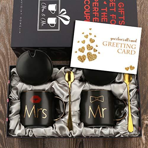 Mr Mrs Herr und Frau Paare Kaffeetassen Tassen Geschenke Set für Verlobungshochzeit Brautdusche Braut und Bräutigam werden Jungvermählten Jubiläum - Keramik Marmor 13 Unze-Schwarz