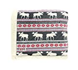 LazyOne Soft Polyester Sherpa Throw Blanket, Plaid and Animal Designs, One Size, Warm, Cozy (Moose Fair Isle)