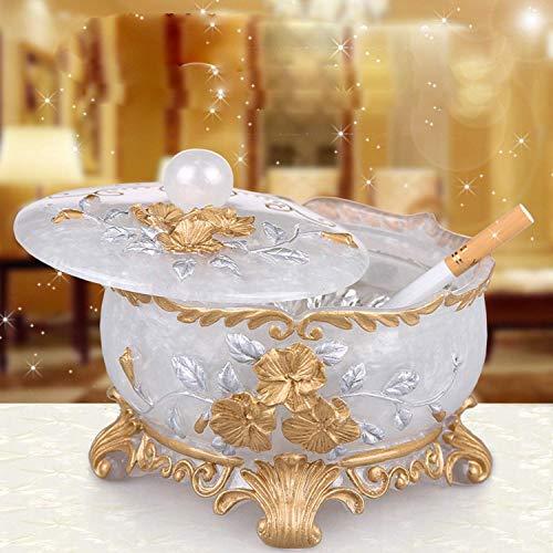 WAYMX Europäische Kreative Aschenbecher Persönlichkeit Kristallglas Aschenbecher Mit Deckel Wohnzimmer Home Couchtisch Wohnzimmer Aschenbecher