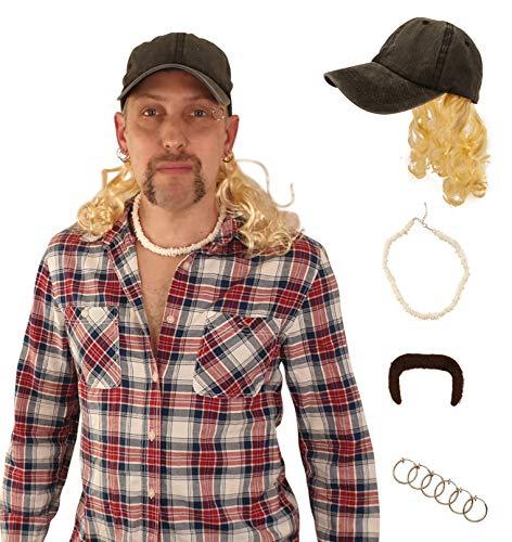 老虎国王乔异国情调服装-乡村乡巴佬服装套装-帽子与金色假发-老虎胡子-项链-耳环-只买PRIME选项-