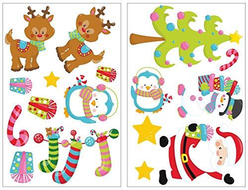 Samunshi® Lot de 17 pièces mignon noël Sticker mural pour chambre d'enfant chambre de bébé 2x 21x34cm
