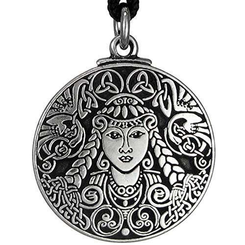 Pewter Celtic Goddess Brigid Pendant Necklace