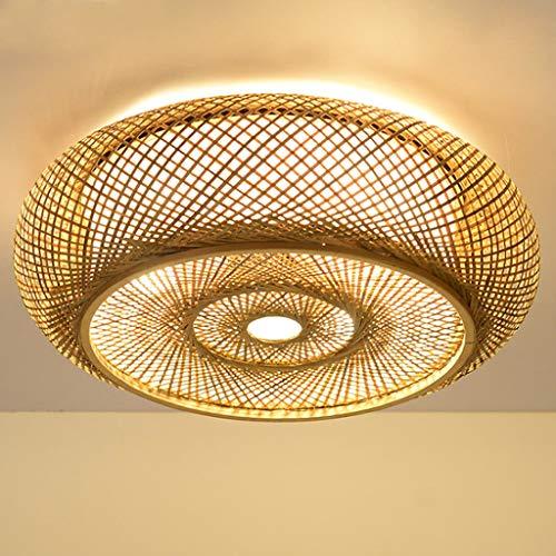 E27 Deckenlampe Holz Vintage Bambus Laterne Deckenleuchte Retro Runde Deckenlich Handgewebte Rattan Lampenschirm Lampe Restaurant Wohnzimmer Schlafzimmer Büro Dekorative Beleuchtung Kronleuchter,60cm