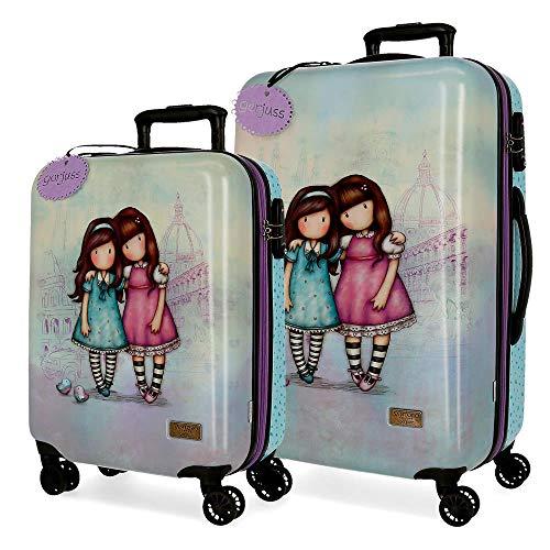 Santoro Gorjuss Friends Walk Together Set valigie Viola 55/67 cms Rigida ABS Chiusura TSA 97L 4 doppie ruote Bagaglio a mano