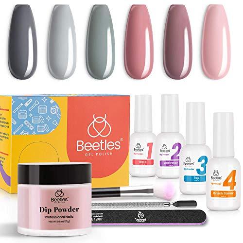 Beetles Dip Powder Nail Kit Starter - Bridesmaid Beauty Nude Gray Pink 6 Colors Nail Dipping Powder Kit for French Nail, No LED Nail Lamp Needed Manicure Nail Art DIY Home Gift Box, 0.6 fl.Oz/Each