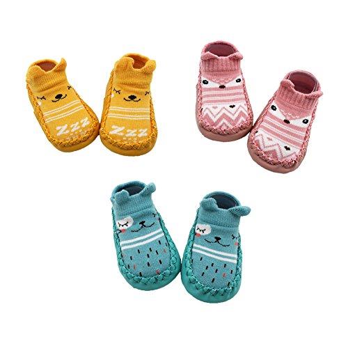 Z-Chen 3 Paire de Chaussons Chaussettes Antidérapantes pour Bébé, Jaune + Rose + Bleu, 12-18 Mois